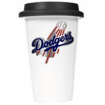Mlb Los Angeles Dodgers Double Wall Tumbler With Black Silicone Lid, 12-Ounce