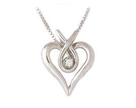 Diamond Heart Ribbon Pendant