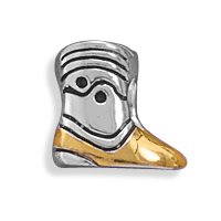Two Tone Cowboy Boot Bead Polished 14 Karat Gold Plated Sterling Silver Cowboy Boot Story Bead Charm