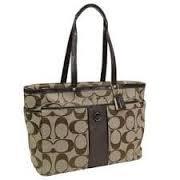 Coach Signature Stripe Multi Function Baby Bag Tote 21865 Mahogany Brown