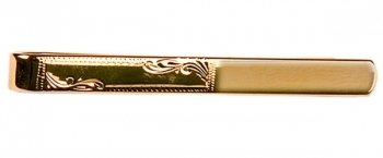 Half Engraved Polished Frame Design Gold Tie Slide