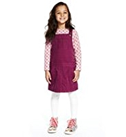 2 Piece Pure Cotton Corduroy Pinafore & Floral T-Shirt Outfit