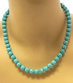 Turquoise Bead Necklace, 17