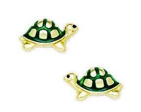 14k Yellow Gold Enamel Screwback Green Turtle Earrings - Measures 6x10mm - JewelryWeb