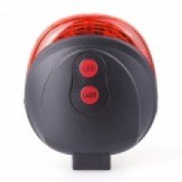 Soldier SJ-10237-A Bicycle 5-LED 7-Mode Red Laser Tail Light - Black + Red (2 x AAA)