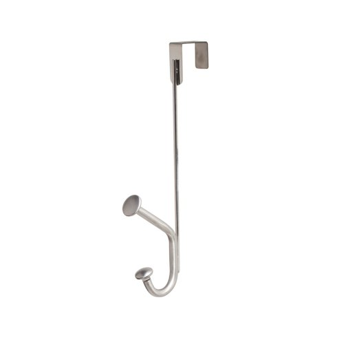 InterDesign Forma Ultra Over-the-Door Dual Hook, Brushed Stainless Steel