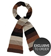 M&S Collection Cashmere Rich Striped Metallic Scarf