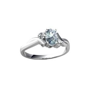 Brand New 0.65Ct Real Aquamarine and Diamond Ring,Sterling Silver, Size J