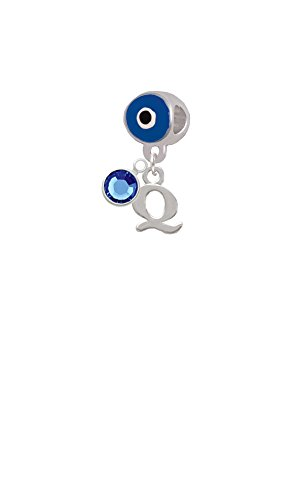 Small Initial - Q - Blue Evil Eye Charm Bead With Crystal Drop