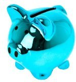 Present Time Wanted Mini Ceramic Disco Pig Moneybank, Assorted Colors - 1