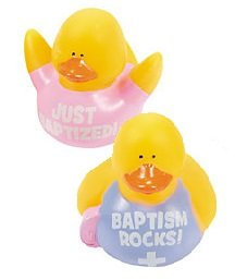 Set Of 2 Girl Just Baptized Baptism Rocks Mini Rubber Duckies Ducks Set