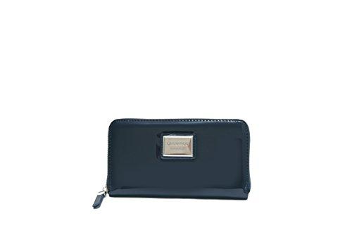 JustGlam - Portafoglio borsellino in vernice con lampo per signora giovane donna made in italy idea regalo art dfx684-2 / blu