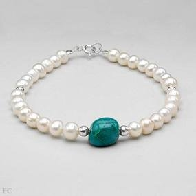 Nice Brand New Bracelet With 5.00ctw Precious Stones - Genuine Jasper and 5.5 - 6mm Freshwater Pearls Beautifully Crafted in 925 Sterling silver