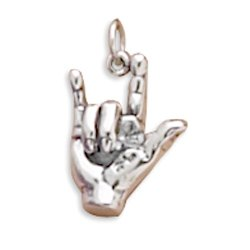 Amazon.com: CM Sterling Silver Charm Pendant Sign Language Hand I Love