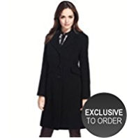 Petite Wool Blend Flap Coat with Cashmere
