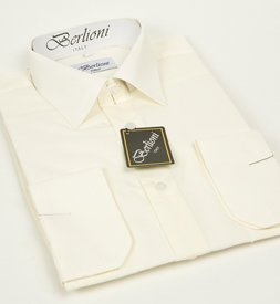 Elegant Men's Button Down Off-white Dress Shirt (Small-14/14.5 Neck; 32/33 Sleeves)