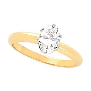 Oval Diamond Solitaire Engagement Ring 14ct 0.35 Ct, H , I1