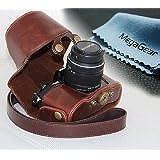 MegaGear Etui souple en cuir pour, Housse pour Olympus OM-D E-M10 avec 14-42mm (Brun Foncé)