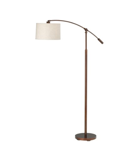 Kichler Lighting 74256Bczca Cantilever 1-Light Cfl Adjustable Floor Lamp, Burnished Copper Bronze Finish With Oatmeal Linen Fabric Hard Back Shade front-1053022