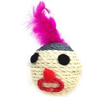 Iconic Pet Catnip Rope Ball with Feathers on Head, 2.6\