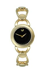 Movado Rava Gold-Plated Bow-Link Black Museum Dial Women's Watch #0606084