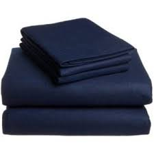 Solid King/Calking Size Navy 300 Thread Count Attached Waterbed Sheet Set With Pole Attachments 100% Egyptian Cotton front-584929