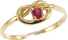 14k Yellow Gold, Dainty Knot Design Ring with Lab Created Round Red Colored Center Stone