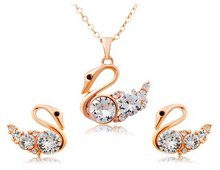 Women'S 18K Gold Plated Zinc Alloy Crystal Decorated Swan Shaped Necklace & Earrings (Rose Golden) M. By Chonlyshop