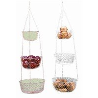 Fox Run 3 Tier Hanging Fruit Vegetable Kitchen Storage Basket - Green, White, or Red