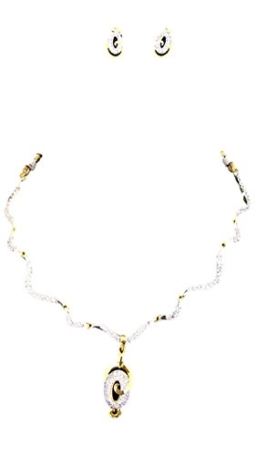 Apex Gold & White Brass Necklace Set For Women - B00U145NCK