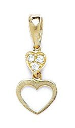 14k Yellow Gold CZ Heart Pendant - Measures 17x7mm - 17 Inch - JewelryWeb
