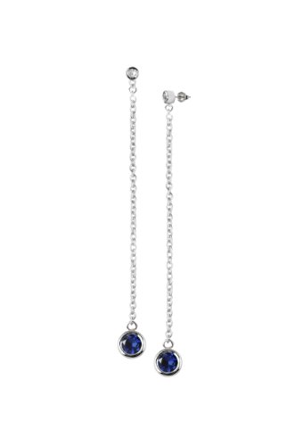 Sterling Silver White Topaz and Created Blue Sapphire Bezel Set Round Gemstone Dangle Earrings (3/4 cttw)