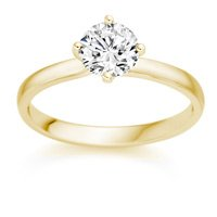 0.42 Carat F/SI1 Round Brilliant Certified Diamond Solitaire Engagement Ring in 18k Yellow Gold