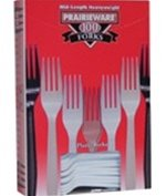 """Praireware 100 Heavy (Heavyweight) Forks 6.13"""" (15.56 Cm). Sold As 1 Pack Of 100. (White)"""
