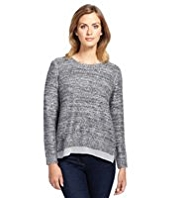 M&S Collection Sequin Embellished Chiffon Hem Jumper
