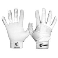 Cutters Gloves Men's Prime Hero Baseball Batting Glove, All White, Small