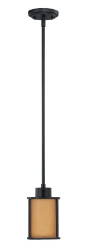 Nuvo Lighting 60/3828 Odeon 1-Light Mini Pendant Parchment Glass, Black