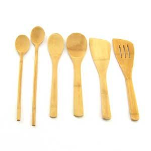 7 Piece Bamboo Cooking Utensil Set 4 Spoons, 2 Turners and a Mini Spoon