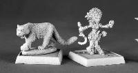 Lini Iconic Gnome Druid and Droogami Snow Leopard Pathfinder Miniature - 1