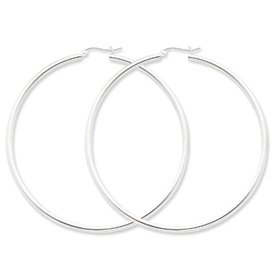 Genuine IceCarats Designer Jewelry Gift Sterling Silver Rhodium-Plated 2.5Mm Round Hoop Earrings