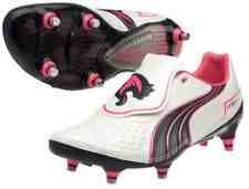 Puma V1.11 Football Boots Size UK 6.5 White Pink Navy SG