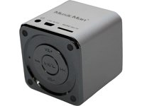 MusicMan TXX3528 Mini Soundstation (MP3 Player, Stereo Lautsprecher, Line In Funktion, SD/microSD Kartenslot) silber