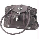 New Embassy Brown Italian Stone Design Large Genuine Leather Purse Silver Tone Heart Decorations