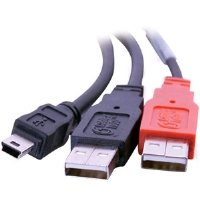 Cables To Go 28107 USB 2.0 Mini-B Male to 2 USB A Male Y-Cable (6 Feet, Black)