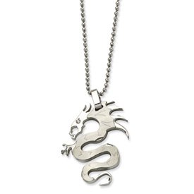 Stainless Steel Satin Dragon With CZ Pendant Necklace - 22 Inch - JewelryWeb
