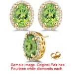 0.21 Ct Diamond & 0.55 0.00 Cts Peridot Stud