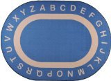 "Joy Carpets Kid Essentials Early Childhood Oval Endless Alphabet Rug, Seaside, 10'9"" x 13'2"""