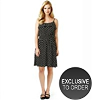 Scoop Neck Frill Spotted Dress