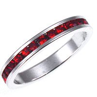 Sterling Silver Channel Set Ring in Ruby