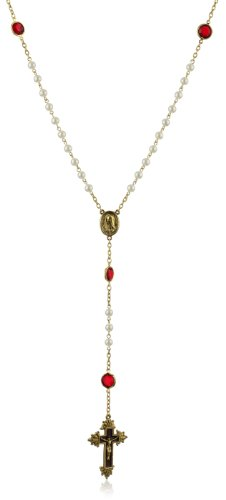 The Vatican Library Collection Simulated Pearl Gold-Tone Rosary